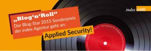 Blog Star 2015 - Sonderpreis Bester Text für die Applied Security GmbH